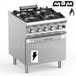 Fourneau MBM 4 feux vifs (28 kw) sur four électrique 380V  -FB77FEXL