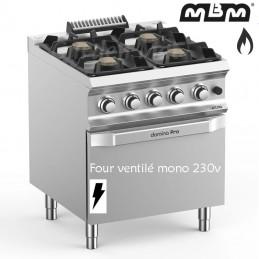 Fourneau MBM 4 feux vifs (22 kw) sur four électrique Ventilé - FB77FEVXS