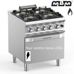 Fourneau MBM 4 feux vifs (28 kw) sur four électrique Ventilé - FB77FEVXL
