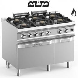 Fourneau MBM 6 feux vifs sur four gaz (48 kw) - FB711AFGXL