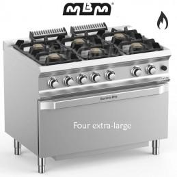 Fourneau MBM 6 feux vifs sur four gaz (41 kw) - FB711FGMXS