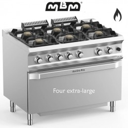 Fourneau MBM 6 feux vifs sur four gaz (50 kw) - FB711FGMXL