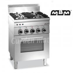Fourneau MBM 4 feux vifs sur four électrique